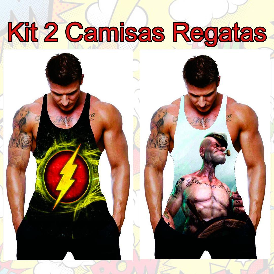 1046b4aa8052e kit 10 camiseta regata cavada heróis musculação academia. Carregando zoom.