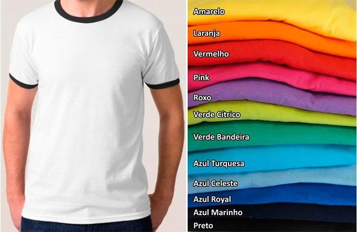 f76e11fe9eded Kit 10 Camisetas Branca Lisa C  Gola Punho Ribana Colorido - R  180 ...