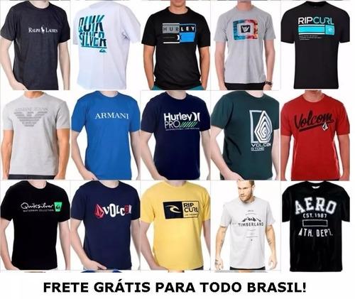 f7d311c97c Kit 10 Camisetas Camisas Masculinas Baratas Marcas Famosas - R  120 ...