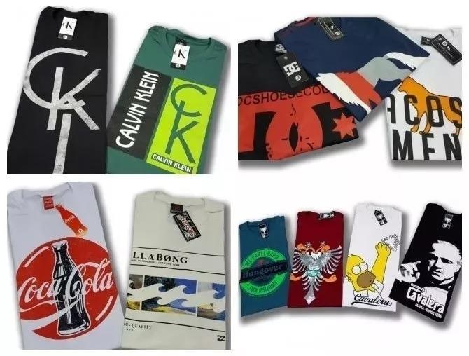 569339d7d9 Kit 10 Camisetas Camisas Masculinas Baratas Marcas Famosas - R  189 ...