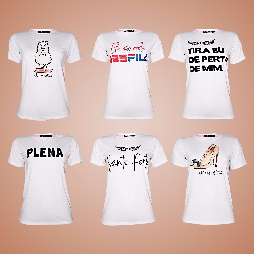 Kit 10 Camisetas Femininas Atacado Ranço Grife Yoga Plena - R  219 ... 7558c7a418e