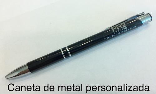kit 10 caneta metal personalizada a laser em ambos os lados