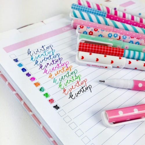 kit 10 canetas gel kawaii coloridas