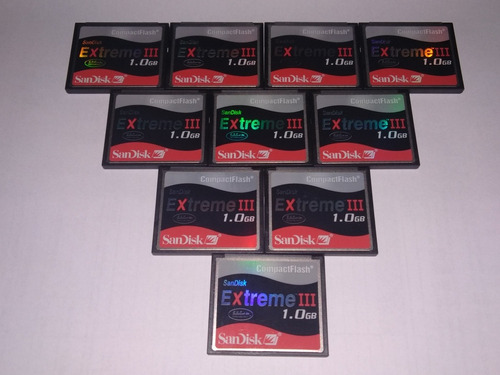 kit 10 cartões cf - compact flash sandisk 1gb extreme 3