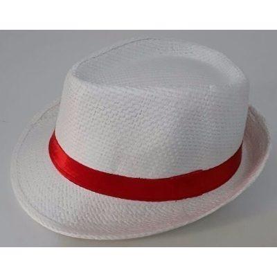 Kit 10 Chapéu Fedora Branco Faixa Vermelha Estiloso Malandro - R ... 2b32060dda9
