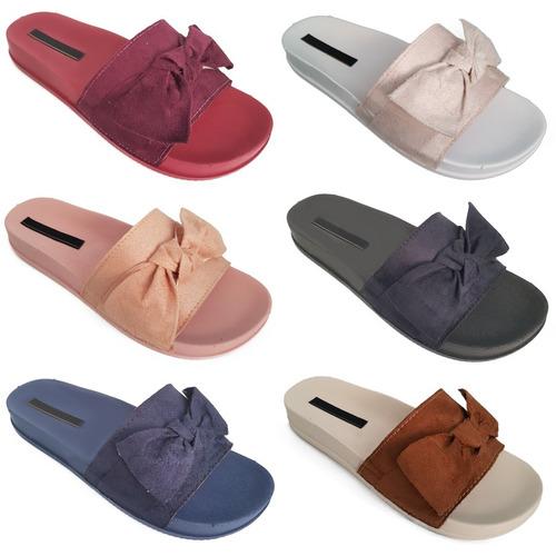 kit 10 chinelos sandálias beach slide laço pano atacado k016