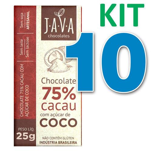 kit 10 chocolate 75% cacau c/ açúcar de coco vegano 25g java