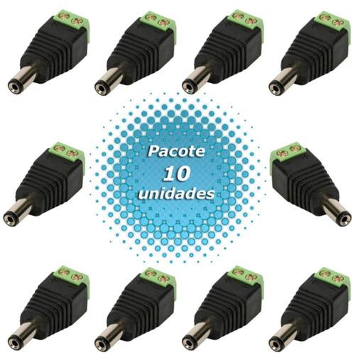 kit 10 conector p4 macho alimentação camera cftv segurança