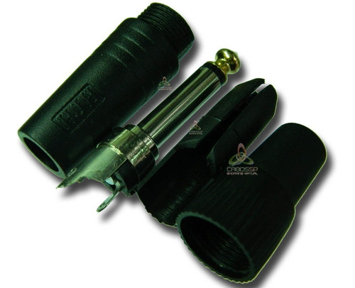 kit 10 conectores plug p10 6,35mm mono preto hjh