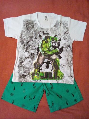 kit 10 conjunto infantil camiseta short meninos personagens