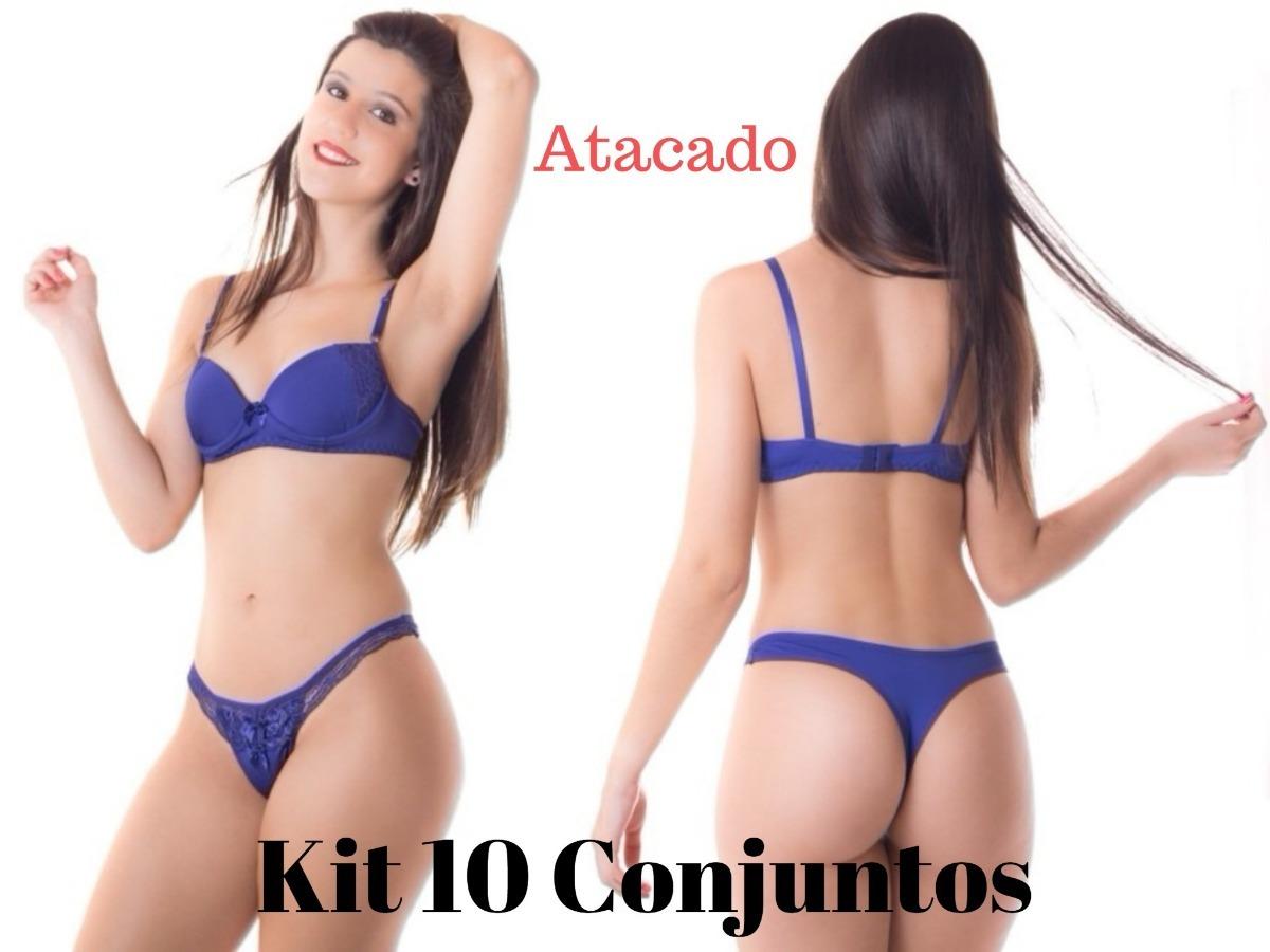 ba2377282e717 kit 10 conjuntos lingerie em microfibra e renda - atacado. Carregando zoom.