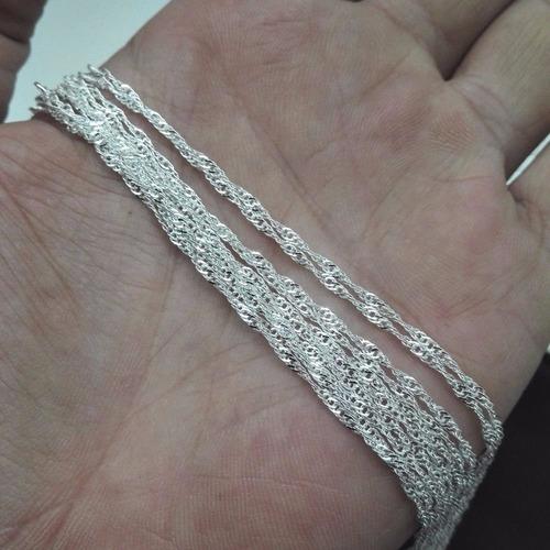 kit 10 correntes prata maciça 925 masculina fina 60 cm