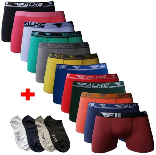kit 10 cuecas box boxer microfibra + 12 pares de meias