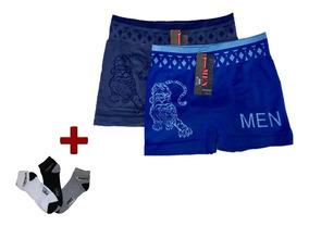 7d4d6dc1db7dff Kit 10 Cuecas Boxer E 12 Pares De Meia Cano Curto