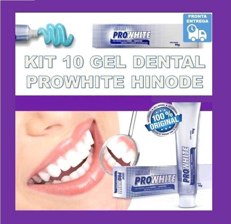 Kit 10 Dental Gel Pro White Hinode Clareador Tira Manchas R 80 00