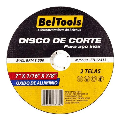 kit 10 disco de corte aço inox 7x1/16x7/8 beltools