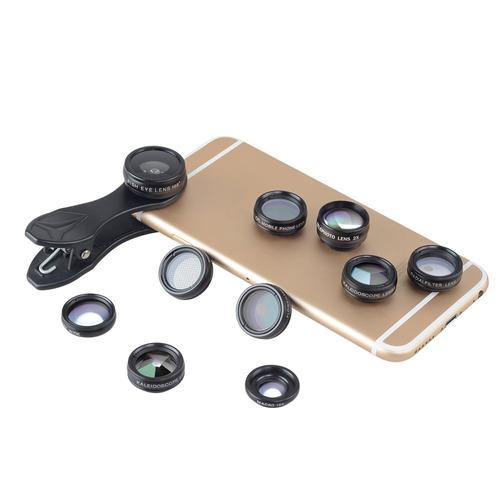 kit 10 em 1 lentes olho de peixe caleidoscópio macro celular
