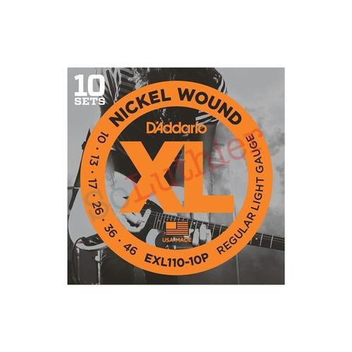kit 10 encordoamentos guitarra d'addario exl110-10p 010-046