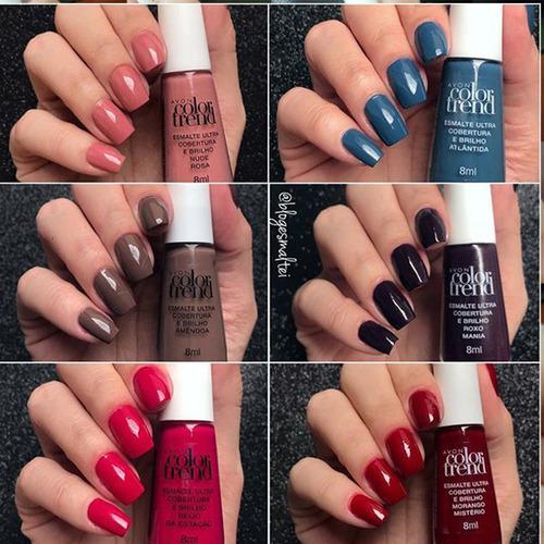 kit 10 esmaltes color trend avon sortidos manicure atacado