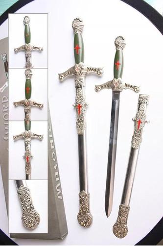 kit 10 espada maçonica cavaleiro templario decoração bainha