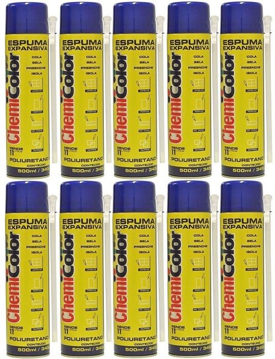 4692d2f8da8 Kit 10 Espuma Expansiva Poliuretano Spray 500ml Chemicolor - R ...