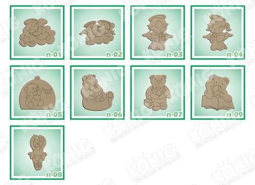 kit 10 figuras mdf 25cm temática, princesas, piratas y osos