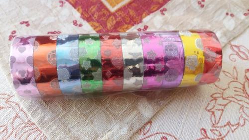 kit 10 fita adesiva glitter scrapbook washi tape 2m cada