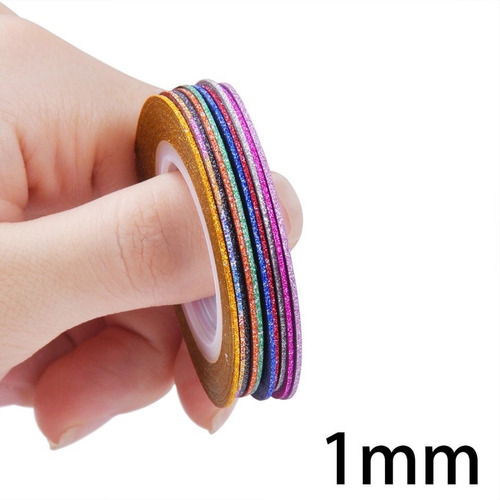 kit 10 fitas glitter 1-2-3 mm decoração unha nail art