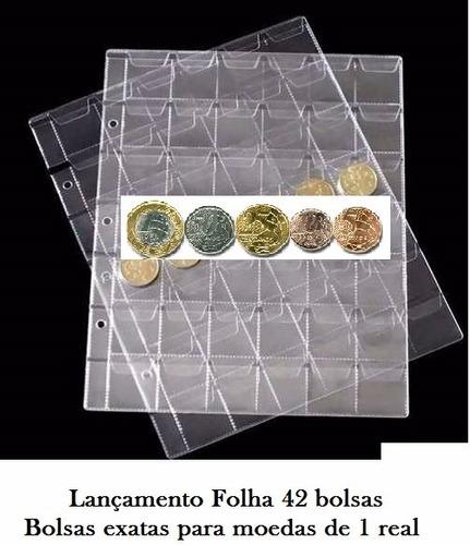 kit 10 folhas plastico p/ guardar moedas (coleção) 42 bolsas