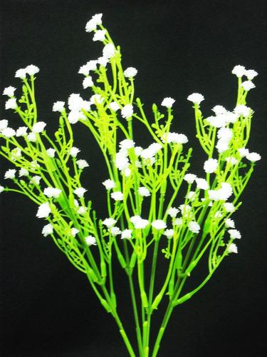 kit 10 galhos flor mosquitinho artificial branco - decoração