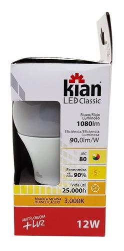 kit 10 lampada led 12w kian 3000k amarela promoção