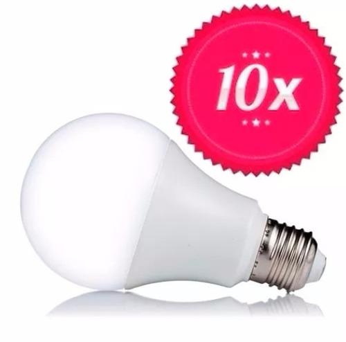 kit 10 lampada led 9w bulbo rosca e27 bivolt branco frio
