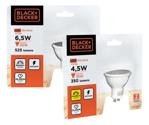 kit 10 lampadas led dicroica gu10 4,5w 3000k  black + decker
