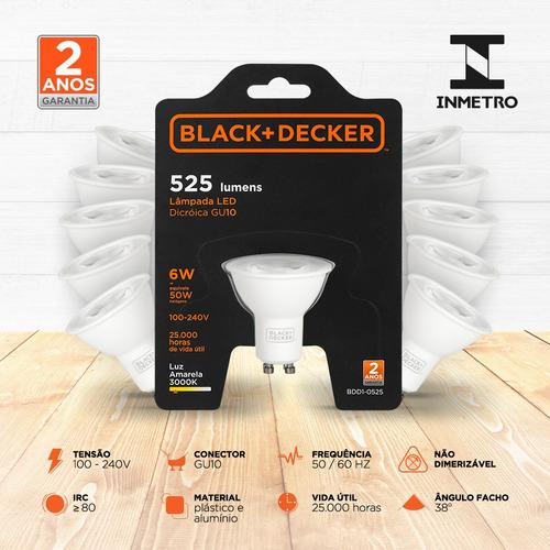 kit 10 lampadas led dicroica gu10 6w 3000k - black + decker