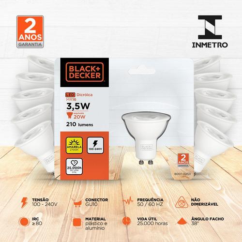 kit 10 lampadas led dicroica mr16 gu10 3,5w 2700k - b+d