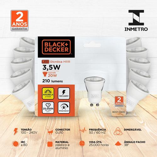 kit 10 lampadas led mini dicroica mr11 3,5w amarela dim -b+d