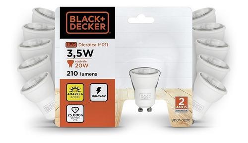 kit 10 lampadas led mini dicroica mr11 gu10 3,5w 2700k - b+d