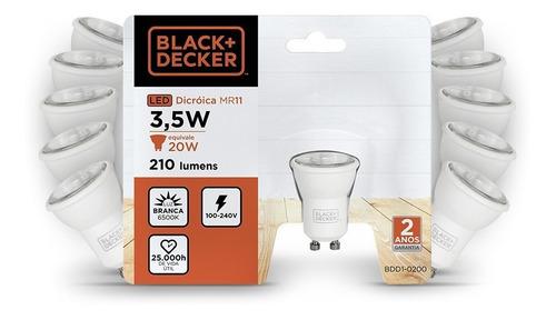 kit 10 lampadas led mini dicroica mr11 gu10 3,5w branca -b+d