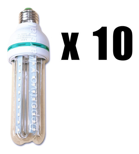 kit 10 lamparas tubos efficient led 12w = 100 watts led eco