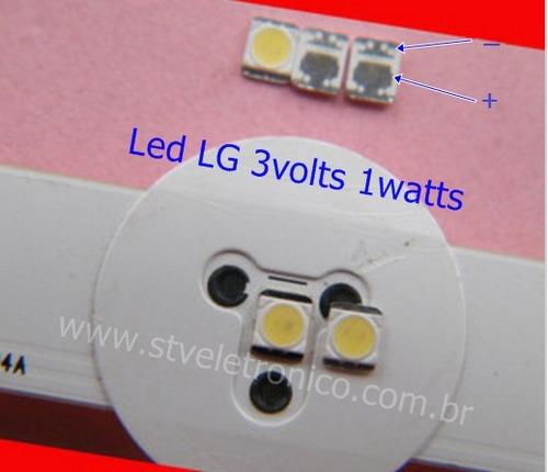 kit 10 led 2835 lg 32 39 42 47 50 55 linha la ln-3v 1w