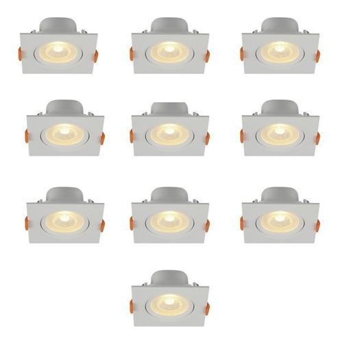 kit 10 led dicroica com spot quadrado 6w luz quente 3000k