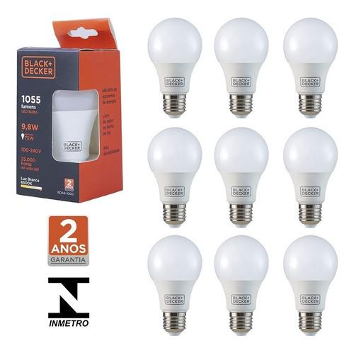 kit 10 lâmpada led bulbo 9,8w e27 branca black decker bivolt