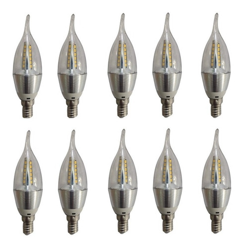 kit 10 lâmpada led vela 5w e14 bivolt lustre pendente linda