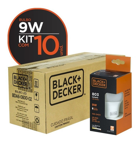 kit 10 lâmpadas led bulbo 9w branca - black + decker