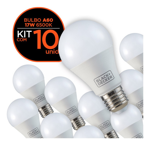 kit 10 lâmpadas led bulbo a60 17w branca - black + decker
