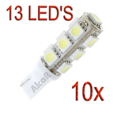 kit 10 lâmpadas pingo 13 led's 5050 t10 farolete teto placa