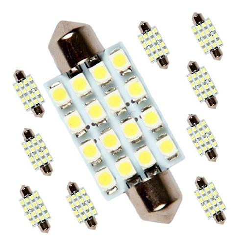 kit 10 lâmpadas torpedo 16 led's teto placa xenon pingo