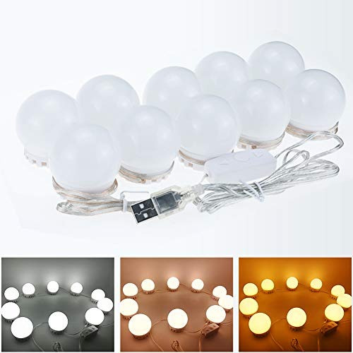 kit 10 luces espejo led tocador ajustables intensidad 2.5m