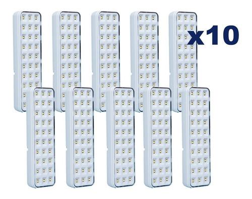 kit 10 luminária segurimax lâmpada emergência bivolt 30 leds