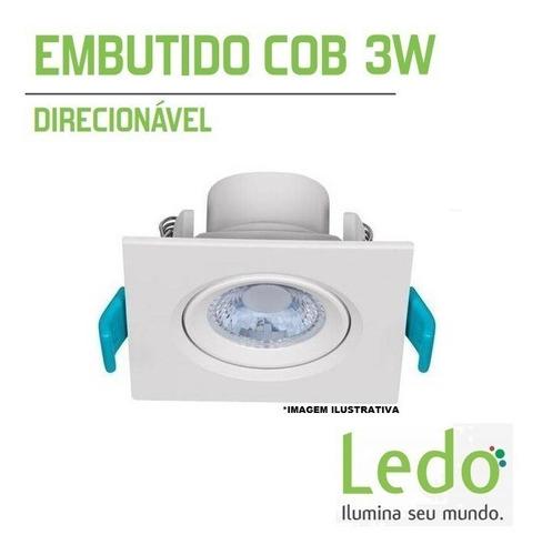 kit 10 luminaria spot quadrado led 3w branco quente promoção